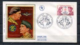 1973 FRANCE FDC 1ER JOUR SUR SOIE PIERRE BOUGOIN ET PHILIPPE KIEFFER - Guerre Mondiale (Seconde)