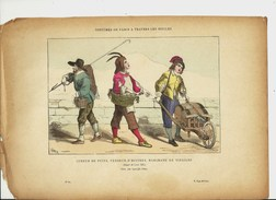 Marchand Ambulant Tonneaux Vinaigrier Vinaigre Huître Sous Louis XIII.gravure Ancienne Paris Commerçant Marché Puisatier - Old Paper