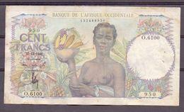 Aof 100 Fr 1948  Vf ( 2 Pinholes ) - États D'Afrique De L'Ouest