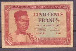Mali 500 Fr 1960 Red  Very Rare - États D'Afrique De L'Ouest