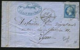 PARIS : Pli Avec 20c Empire Dentelé Oblt Etoile 29 + CàD PARIS R.PASCAL > LYON - 1849-1876: Période Classique