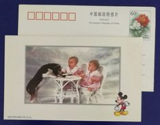 Dog,Twins,twinborn Baby,Disney Mickey Mouse,China 1999 Shanghai New Year Greeting Advertising Pre-stamped Card - Disney