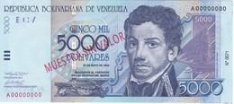 ESPECIMEN - BILLETE DE VENEZUELA DE 5O00 BOLIVARES DEL AÑO 2000 SIN CIRCULAR-UNCIRCULATED (SPECIMEN) (BANKNOTE) MUY RARO - Venezuela