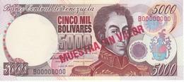 ESPECIMEN - BILLETE DE VENEZUELA DE 5000 BOLIVARES DEL AÑO 1997 SIN CIRCULAR-UNCIRCULATED (SPECIMEN) (BANKNOTE) MUY RARO - Venezuela