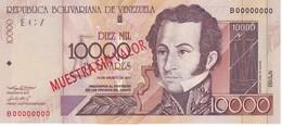 ESPECIMEN -BILLETE DE VENEZUELA DE 10000 BOLIVARES DEL AÑO 2001 SIN CIRCULAR-UNCIRCULATED (SPECIMEN) (BANKNOTE) MUY RARO - Venezuela