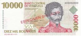 ESPECIMEN -BILLETE DE VENEZUELA DE 10000 BOLIVARES DEL AÑO 1998 SIN CIRCULAR-UNCIRCULATED (SPECIMEN) (BANKNOTE) MUY RARO - Venezuela