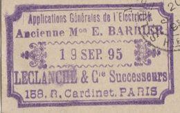 Carte Commerciale 1895 / Entier / LECLANCHE & Cie / Electricité / Anc. Barrier /  75 Paris - Cartes