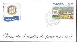 COLOMBIA 100 AÑOS UN SIGLO DE SERVICIO UN NUEVO SIGLOD E EXITOS ROTARY INTERNATIONAL 1905-2005 FDC SOBRE - Rotary, Lions Club