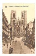 Bruxelles / Brussel - L'Eglise Et La Rue Sainte-Gudule - Helio Art Bichrome De Graeve Gand - Attelage / Paard En Kar - Monumenti, Edifici