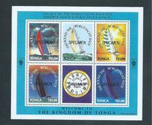Tonga 1991 World Yacht Race Miniature Sheet With Set Of 5 + Label MNH Specimen Overprint - Tonga (1970-...)