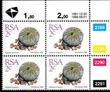 South Africa - 1991 Succulents 2c Reprint Control Block (1991.12.20) (**) - Blocs-feuillets