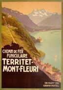 Chemin De Fer Funiculaire Territet-Mont-Fleuri Depart Du Grand Hotel 1905 - Postcard - Poster Reproduction - Publicité