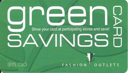 Paper Fashion Outlets Green Savings Discount Card From 2012 - Other Collections