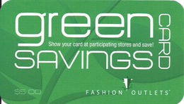 Paper Fashion Outlets Green Savings Discount Card From 2014 - Other Collections