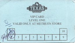 Texas Roadhouse Restaurant Paper VIP Card Valid At Methuen, MA Store - Other Collections