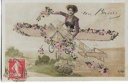 "Dame    Dans  Avion  Fleuri  ""Un  Baiser   "" - Femmes"