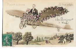 """Homme   Dans  Avion  Fleuri  """"  Planant  Au -  Dessus  ,  Je  Vous  Envoie  - Un  Bonjour - Scènes & Paysages"""