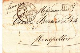 LAC De SAVERNE Avec TàD Type 12 Du 15 MARS 1833 En P.P. Adressée à Montpellier - Poststempel (Briefe)