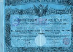 AUTRICHE - OBLIGATION DES CHEMINS DE FER DE L'ETAT - Bilingue - Vienne 1er Juin 1855 - N°120084 - Spoorwegen En Trams