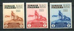 159 SOMALIE Italienne 1934 - Yvert A 4/6 - Felin Avion - Neuf ** (MNH) Sans Trace De Charniere - Somalia