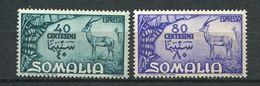 159 SOMALIE Italienne 1950 - Yvert 9/10 Lettre Expres - Antilope - Neuf ** (MNH) Sans Trace De Charniere - Somalia
