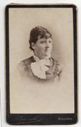 FOTO ANTICA SIGNORA STUDIO TARAMELLI BERGAMO CM.10,5X6 - Antiche (ante 1900)