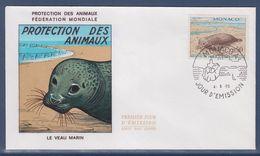 = Monaco Protection Des Animaux Fédération Mondiale Le Veau Marin Enveloppe Jour D'émission 4.5.70 N°811 - FDC