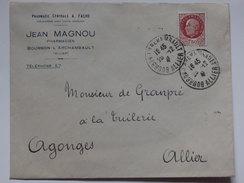 """Enveloppe """"Pharmacie Centrale"""" Jean Magnon Pharmacien Bourbon L'Archambault (01). - Vieux Papiers"""