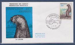 = Monaco Protection Des Animaux Fédération Mondiale La Loutre Enveloppe Jour D'émission 4.5.70 N°814 - FDC