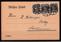 Danzig Vordruck- Bücherzettel Ab Danzig 5k/17.4.21 Mit 3x MiNo. 53 Nach Nordhausen - Danzig