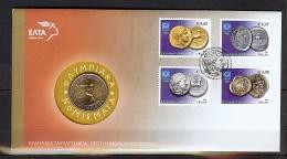 ENVELOPPE PJ DES JEUX OLYMPIQUES D'ATHENES DE 2004 AVEC PIECE DE 2 EUROS COMMEMORATIVE - Ete 2004: Athènes