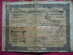 TURQUIE / TURKEY : EMPIRE OTTOMAN  :Action  Régie Cointéressée Dex Tabacs De L'empre Ottoman 1330 / 1914 - Otros