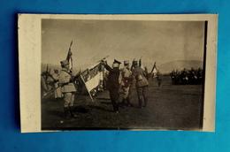 Cpa CARTE PHOTO MILITARIA GUERRE 1914 Décoration 8e ZOUAVES Par Poincaré CHAUX ALSACE (TERRITOIRE DE BELFORT 90 ?) - Personajes