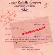 ROYAUME UNI -ANGLETERRE-LETTRE JOSEPH RADCLIFFE COMPANY-76 CHESTERFIELD ROAD-NORTH SHORE -BLACKPOOL- 1925 BOUTET VIERZON - United Kingdom