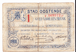 BON De 1 Fr Stad OOSTENDE 14-18 - [ 3] German Occupation Of Belgium