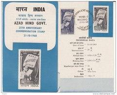Stamped Info., Azad Hind, Tiger On Flag, Netaji Reading Proclamation @ Singapore, Japan @ War - India