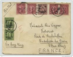 (Chine) China. Enveloppe 1946 De Shanghaï à Nancy (France), Via Hong-Kong, Par Avion. - China