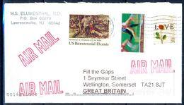 G330- USA United States Postal History Cover. Post To U.K. England. Flower. Love. Sports. - United States