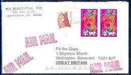G331- USA United States Postal History Cover. Post To U.K. England. Happy New Year. - United States