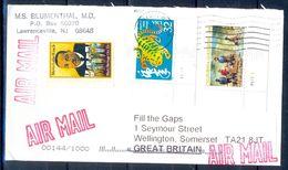G332- USA United States Postal History Cover. Post To U.K. England. Happy New Year. - United States