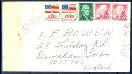 G335- USA United States Postal History Cover. Post To U.K. England. Flag. - Other