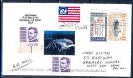 G337- USA United States Postal History Cover. Post To U.K. England. Animals. Flag. Sea Life. - United States
