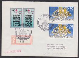 Eisfeld R-Brief Zum Sondertarif Mit ABS-Marke Und 70 Pf (2) Olympiade 1976 Portogenau - [6] République Démocratique