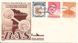 Colombia First Flight Cover RAS Flight Bogota - Rio 28-12-1958 - Kolumbien