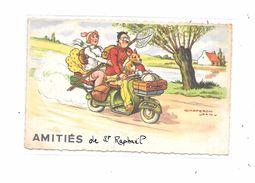 83 - Amitiés De ST RAPHAEL : Famille En SCOOTER, Illustrée Par CHAPERON, - Motos