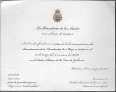 LA PRESIDENCIA DE LA NACION ARGENTINA TIENE EL HONOR DE INVITAR A LA COMIDA OFRECIDA BICENTENARIO DE LA REVOLUCION DE MA - Cartes De Visite