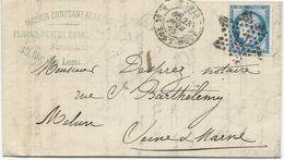 LETTRE 1875 AVEC CACHET ETOILE DE PARIS 17 - 1849-1876: Période Classique