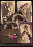 CUTE VICTORIAN WOMAN LONG HAIR HAT SWING COSTUMES Ca1900 14 POSTCARD REAL PHOTO - Photographs