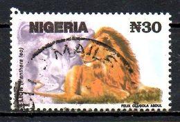 NIGERIA. N°610 (Réf. Michel) De 1993 Oblitéré. Lion. - Roofkatten