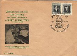 ALLEMAGNE RDA DDR Pa 1 FDC 1er Anniversaire Mort Albert SCHWEITZER Cachet DRESDE Du 4 Sept 1976 - Albert Schweitzer